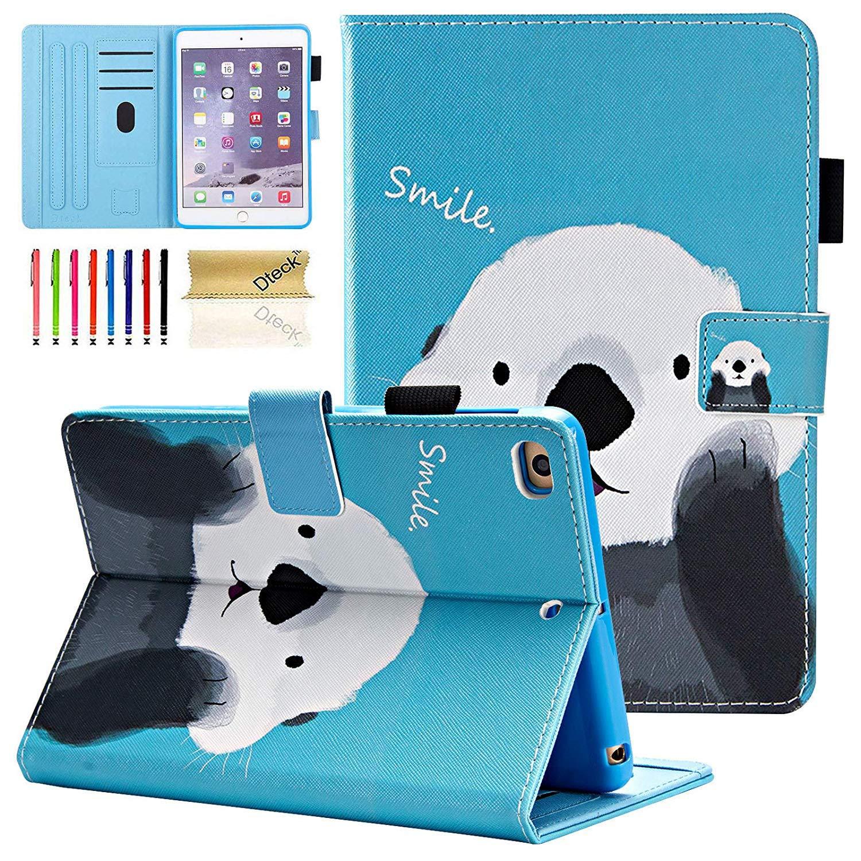 Dteck iPad Mini 1/2/3/4 Case - Slim Fit Premium PU Leather [Multi-Angle View] Folio Stand Wallet Cover with Auto Wake/Sleep Smart for Apple iPad Mini 1/Mini 2/Mini 3/Mini 4, Cute Bear