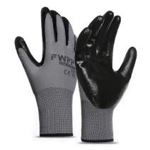FWPP GN005001XL6 Black Nitrile Coated Work Gloves Construction Gloves Pack of 6Pairs Extra Large