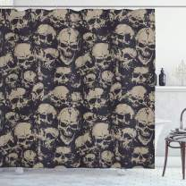 """Ambesonne Skull Shower Curtain, Grunge Scary Skulls Sketchy Graveyard Death Evil Face Horror Theme Design, Cloth Fabric Bathroom Decor Set with Hooks, 70"""" Long, White Charcoal"""