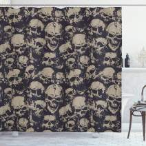 "Ambesonne Skull Shower Curtain, Grunge Scary Skulls Sketchy Graveyard Death Evil Face Horror Theme Design, Cloth Fabric Bathroom Decor Set with Hooks, 70"" Long, White Charcoal"