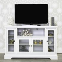 """Walker Edison Furniture Company Traditional Wood Universal Stand for TV's up to 58"""" Flat Screen Living Room Entertainment Center, 52 Inch, White"""