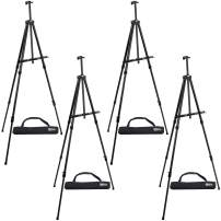"""U.S. Art Supply 84"""" High XL Reinforced Aluminum Easel, Black Tripod Artist Field and Display Easel Stand (Pack of 4) - Extra Large Floor, Tabletop, Adjustable Height, Holds 64"""" Canvas, Portable Bag"""