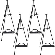 "U.S. Art Supply 84"" High XL Reinforced Aluminum Easel, Black Tripod Artist Field and Display Easel Stand (Pack of 4) - Extra Large Floor, Tabletop, Adjustable Height, Holds 64"" Canvas, Portable Bag"