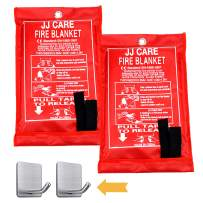 """JJ CARE Fire Blanket (2 Pack) Fire Fighting Suppression Blankets Fiberglass Cloth for Camping, Grilling, Kitchen Safety, Car and Fireplace Fire Retardant Blankets for Emergency 40""""x40"""" with Hooks"""