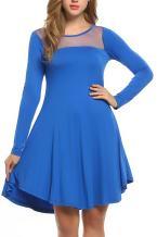 Beyove Women's O-Neck Sleeveless Maxi Dress Casual Pleated High Low Hem Patchwork Long Dress Summer