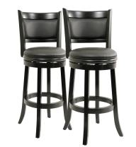 Boraam Augusta Bar Height Swivel Stool, 29-Inch, Black, 2-Pack