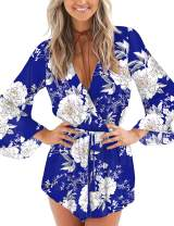 AIMCOO Women's Summer Casual Floral Print Jumpsuits Long Sleeve Elastic Waist V-Neck Short Rompers