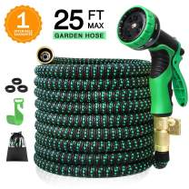 "Colrasn 25ft Expandable Garden Hose, Durable Flexible Water Hose, 9 Function Spray Hose Nozzle, 3/4"" Solid Brass Connectors, Extra Strength Fabric, Lightweight Expanding Hose"