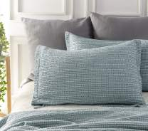 """PHF Cotton Waffle Weave Pillow Shams Covers, Standard Size (20"""" X 26""""), Set of 2, Yarn Dyed, Soft and Cozy Home Decorative Pillow Cases, No Filling, Aqua"""