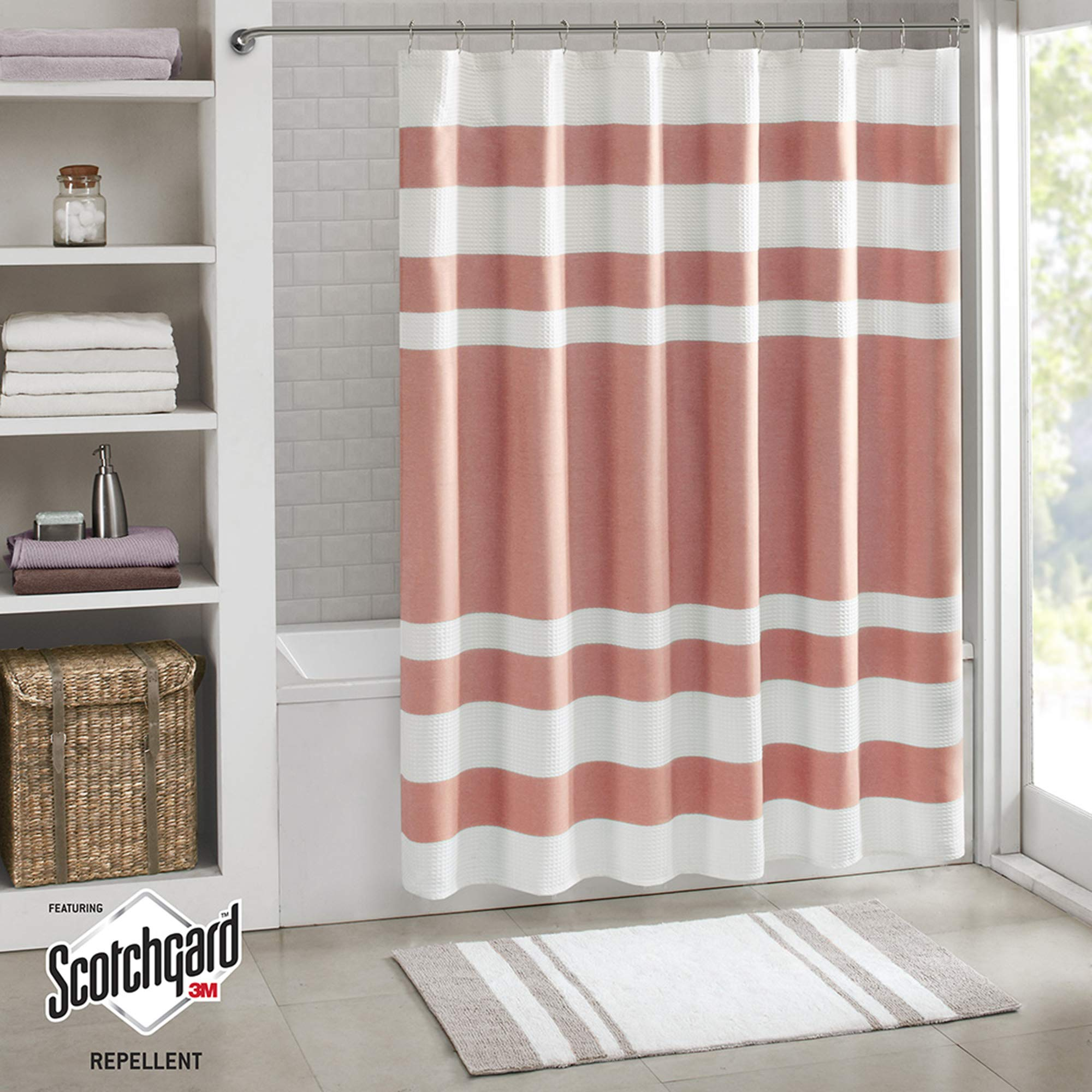 Madison Park Spa Waffle Shower Curtain Pieced Solid Microfiber Fabric with 3M Scotchgard Water Repellent Treatment Modern Home Bathroom Decorations, Standard 72X72, Coral
