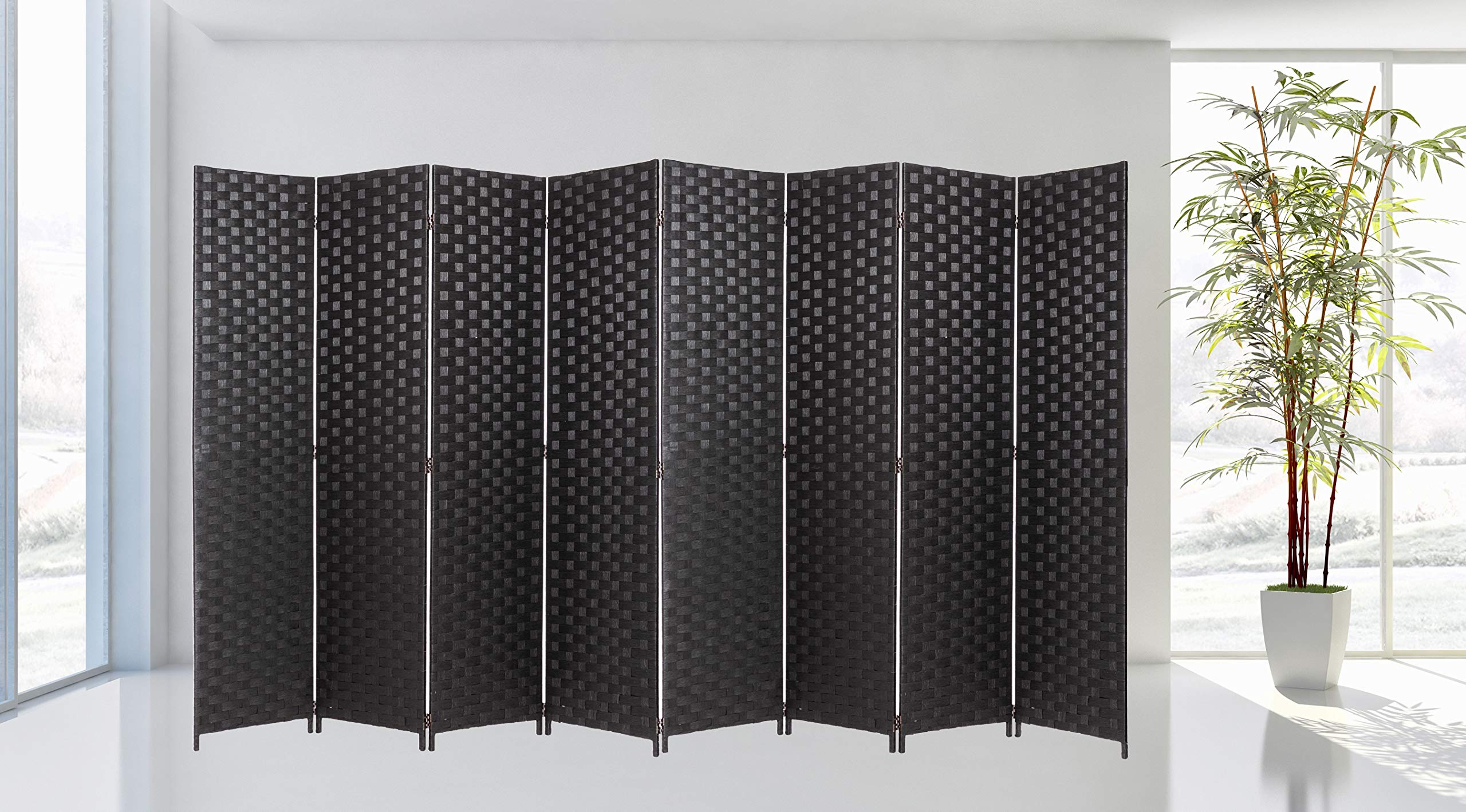 Legacy Decor Room Divider 8 Panel Weave Design Fiber Black Color