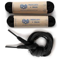 Mercury + Maia Men's Flat Dress Shoe laces 2 Pair Pack- Dress Shoelaces - Made in the USA