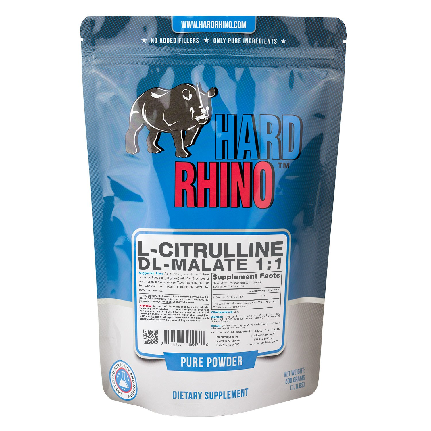 Hard Rhino L-Citrulline DL-Malate 1:1 Powder, 500 Grams (1.1 Lbs), Unflavored, Lab-Tested, Scoop Included