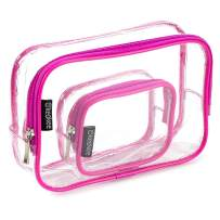 Keokee Clear Toiletry Bag Set, Quart Size with Smaller Case for Travel and Organizing, TSA Approved for 3-1-1 Liquids (Pink)