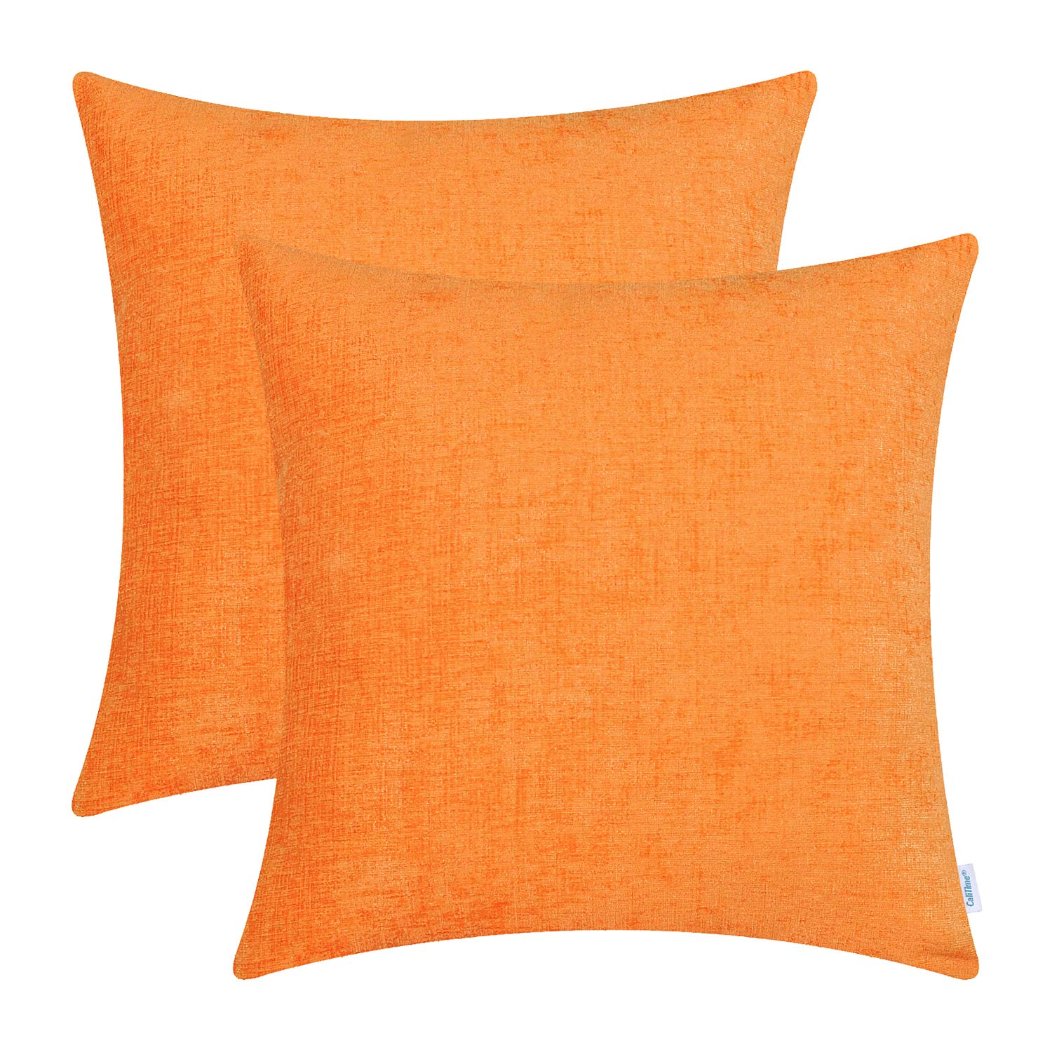 CaliTime Pack of 2 Cozy Throw Pillow Covers Cases for Couch Sofa Home Decoration Solid Dyed Soft Chenille 22 X 22 Inches Bright Orange