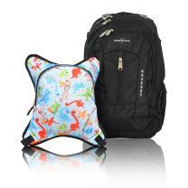 Bern Diaper Backpack, Shoulder Baby Bag, With Food Cooler, Clip to Stroller (Black/Dinos)