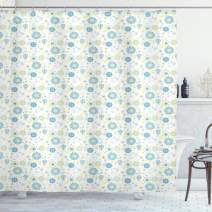 """Ambesonne Yellow and Blue Shower Curtain, Spring Nature Inspired Pattern Flower Scrapbook Style, Cloth Fabric Bathroom Decor Set with Hooks, 84"""" Long Extra, Blue Yellow"""