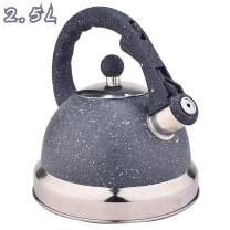ARC USA 0008 Tea Kettle Food Grade with Heat Resistance Handle, Stainless Steel Teapot for Stovetop, Anti-Rust and Loud Whistling 2.64 Quart / 2.5L (Grey Frosted)