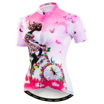 Women's Cycling Jersey Bike Shirts Short Sleeve Ladies Bicycle Clothing MTB Cycle Jacket