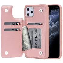Arae Case for iPhone 11 pro PU Leather Wallet Case with Credit Card Holder Pockets Back Flip Cover for iPhone 11 pro 5.8 inch 2019 (Rosegold)