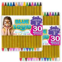 """Face Paint Crayons 30 for Kids, 30 Jumbo 3.25"""" Face & Body Painting Makeup Crayons, Safe for Sensitive Skin, 6 Metallic & 24 Classic Colors, Great for Birthday Party (2 Pack)"""