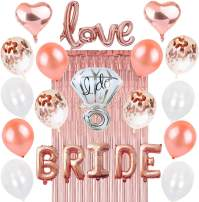 Rose Gold Bachelorette Party Decorations: Bridal Shower Hen Night Kit BRIDE Foil Balloon, 1 Love Silver Diamond Ring, 2 Heart, 12 Latex White Confetti, Metallic Tinsel Fringe Curtain, Wedding Supplies