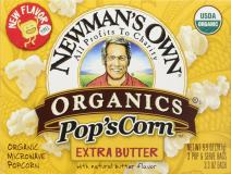 Newman's Own Organics Microwave Popcorn, Extra Butter, 9.9-oz. (Pack of 12)