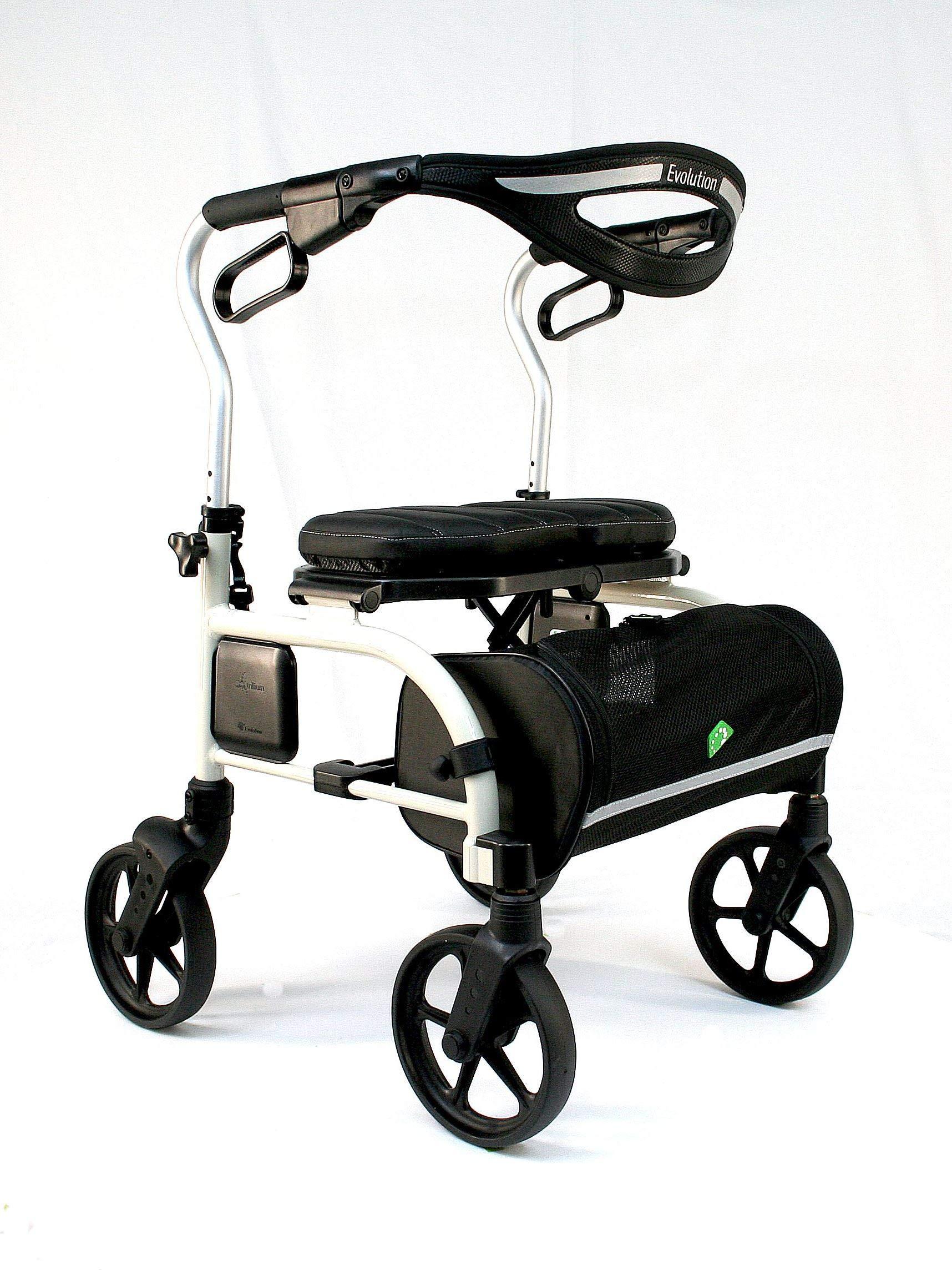 Evolution Trillium Lightweight Medical Walker Rollator with Seat, Large Wheels, Brakes, Backrest, Basket for Seniors Indoor Outdoor use (Pearl White, Regular)