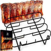 Rib Racks for Smoking - BBQ Rib Rack for Gas Smoker or Charcoal Grill - Non Stick Standing Rib Rack for Grilling & Barbecue - Holds 5 Baby Back Ribs - Black