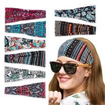 Headbands for Women 8 Packs Boho Fashion Hair Bands for Girls Bohemian Yoga Head Wraps Pattern Elastic Non Slip Sweat Headbands