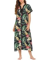 luxilooks Women Nightgown Zip Front Robe Long Full Length Maxi Cotton Summer Duster Coat