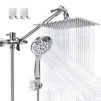 Rain Shower Head with Handheld, Lanhado 8'' High Pressure Rainfall Shower Head with 11'' Extension Arm, 9 Settings Handheld Shower Heads with Holder & Hose, Anti-leak Waterfall Showerhead, Chrome