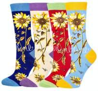 Women Girls Novelty Funny Sunflower Crew Socks, Funky Floral Socks 4 Pack Christmas Gift