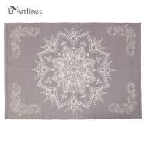 U'Artlines Cotton Area Rug Hand Woven Printed Mat Machine Washable Modern for Bedroom Kitchen Laundry Room (4'x6', Light Purple)