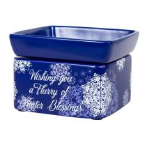 Elanze Designs Winter Blessings Snowflakes Blue Christmas Electric 2 in 1 Jar Candle and Wax and Oil Warmer