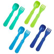 RE-PLAY MADE IN THE USA 8pk Fork and Spoon Utensil Set for Easy Baby, Toddler, and Child Feeding in Aqua, Lime Green, Sky Blue, Navy Blue   Made from Eco Friendly RECYCLED Milk Jugs   (Under The Sea+)