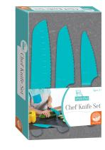 MindWare Playful Chef: Safety Knives for Kids – 3pc Plastic Blades with Serrated Edges – Real Cooking Supplies for Boys & Girls – Safe for Little Hands Ages 4 & up