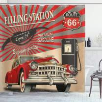 """Ambesonne Cars Shower Curtain, Poster Style Image Gasoline Station Commercial Kitschy Element Route 66 Print, Fabric Bathroom Decor Set with Hooks, Multi 13, 69"""" W x 75"""" L"""