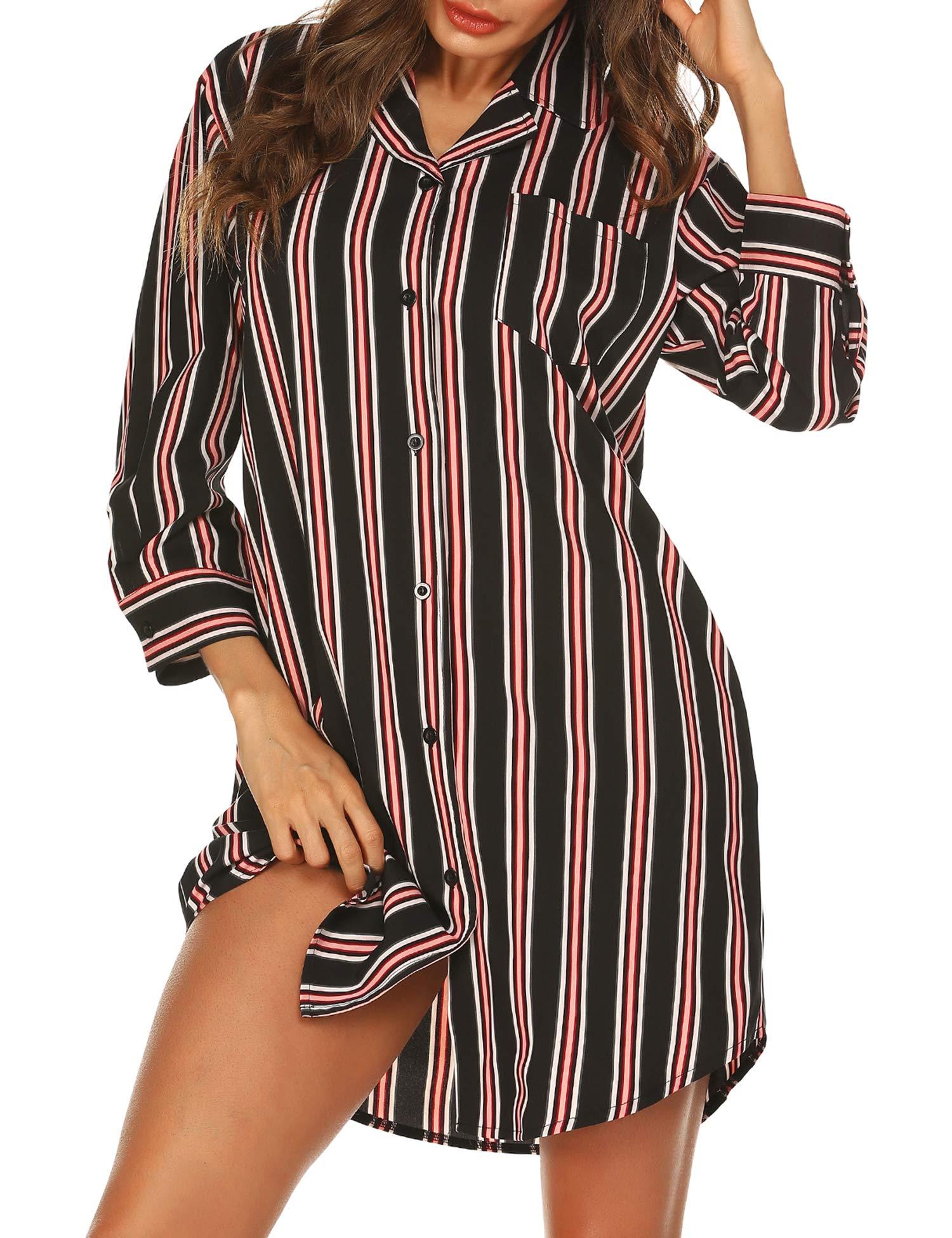 URRU Women's Boyfriend Nightshirt 3/4 Sleeve Button Down Striped Nightgown Sleepwear S-XXL