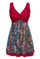 MiYang Women's Plus Size Printing Padded High Waist Swimdress