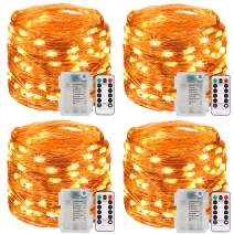 Ehome Fairy String Lights, 4 Pack Fairy Lights 3AA Battery Operated, 16.5ft 50LED Christmas Lights Copper Wire Firefly Moon Lights IP65 for Party Christmas Decorations