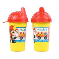 Re-Play Made in USA 2pk Toddler Feeding No Spill Sippy Cups | 1 Piece Silicone Easy Clean Valve | Eco Friendly Heavyweight Recycled Milk Jugs are Virtually Indestructible | Specialty Lid - Firefighter