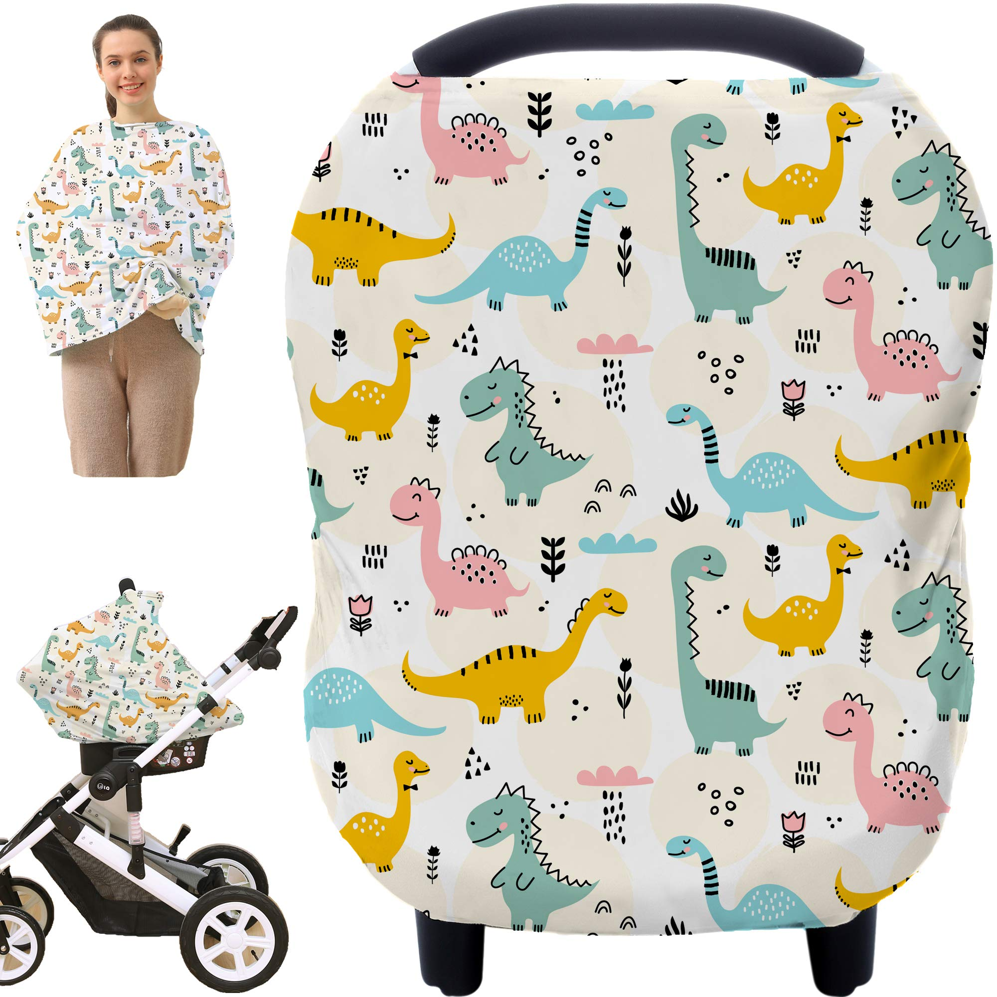 Multi-use Nursing Covers Breastfeeding Cover - Car Seat Covers for Babies, Stretchy Carseat Canopy Cover, Boys and Girls Shower Gifts (Colours Dinosaur)