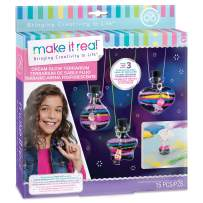Make It Real – Dream Glow Terrarium - DIY Necklace Making Kit - Arts and Crafts Kit to Design Glowing Necklace - Terrarium Kit for Kids with Glow in The Dark Sand and Charms