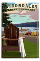 Lantern Press Adirondack Mountains, New York - Sacandaga Lake Adirondack Chair 54228 (6x9 Aluminum Wall Sign, Wall Decor Ready to Hang)