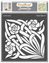 CrafTreat Vine Flower Stencils for Painting on Wood, Canvas, Paper, Fabric, and Wall - Stained Glass Flowers and Vine Stencils - 6x6 Inches - Reusable DIY Art and Craft Stencils for Painting on Glass