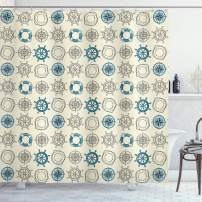"""Ambesonne Compass Shower Curtain, Marine Themed Doodle Art Vintage Inspirations Traveling Exploration Cruise Pattern, Cloth Fabric Bathroom Decor Set with Hooks, 75"""" Long, Beige Teal"""