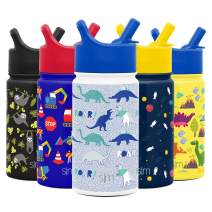 Simple Modern 18oz Summit Kids Water Bottle Thermos with Straw Lid - Dishwasher Safe Vacuum Insulated Double Wall Tumbler Travel Cup 18/8 Stainless Steel Dinosaur Roar