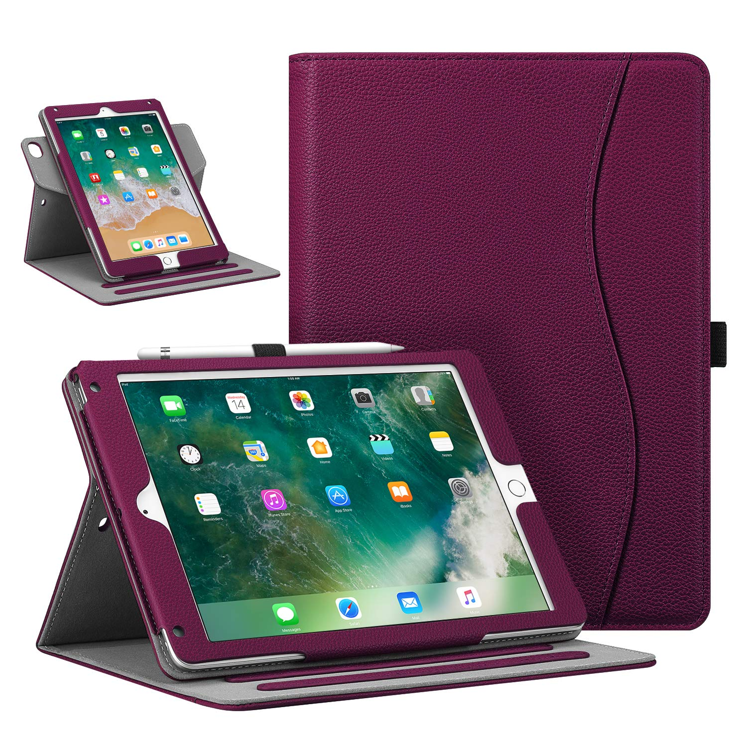 """Fintie Case for iPad 9.7"""" 2018/2017, iPad Air 2 / iPad Air - [Corner Protection] 360 Degree Rotating Smart Stand Cover with Pocket, Pencil Holder, Auto Sleep/Wake for iPad 6th / 5th Gen, Purple"""