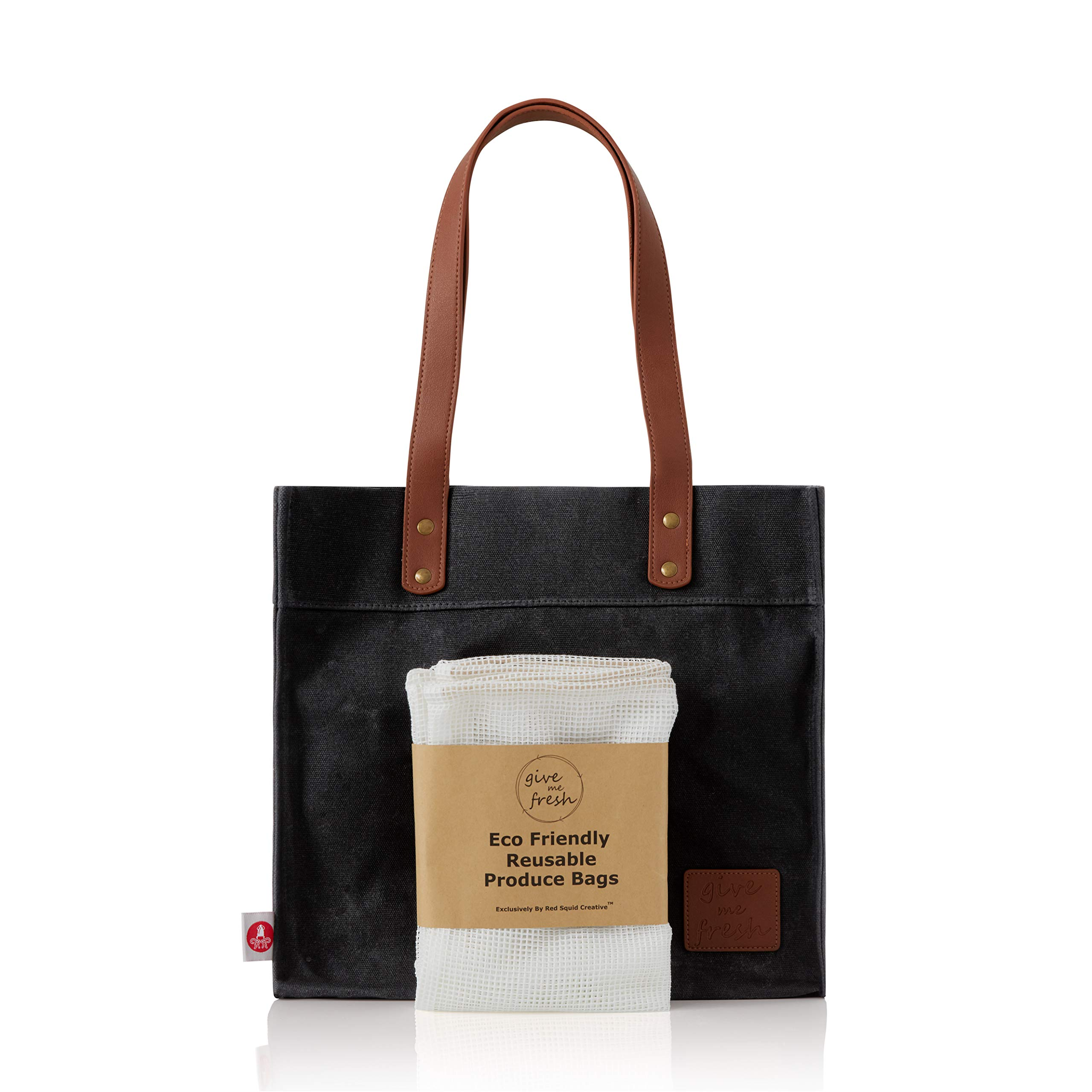 Give Me Fresh No. 2 - SET - Waxed Canvas Grocery Bag PLUS 3 Reusable Mesh Produce Bags, Durable Waxed Canvas Bag, Waxed Canvas Tote Bag with 2 Large Handy Pockets, Water Resistant Waxed Cotton